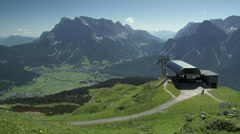 Mountain station in the austrian alps with stunning view Stock Footage