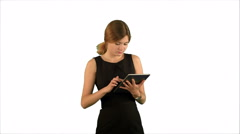 Portrait of a professional business woman with tablet on white background Stock Footage