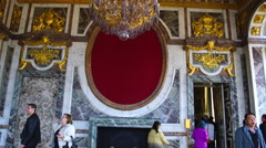 Tourists walking inside The Palace of Versailles Stock Footage