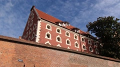 Exterior of the medieval city wall in Torun, Poland. Stock Footage