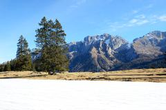 The ski slope with a view on Dolomiti mountains, Madonna di Campiglio, Italy Stock Photos