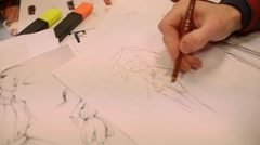 Fashion designer is working on a new collection , making sketches Stock Footage