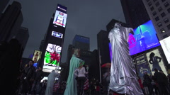 Times Square New York City, Statue of Liberty, Night, Slow Motion Stock Footage