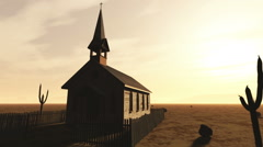 Old Wooden Christian Chapel in a Desert 1 Stock Footage