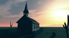 Old Wooden Christian Chapel in a Desert 2 Stock Footage