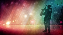Saxaphone Playing Silhouette with Glitter Rainbow Background Stock Footage
