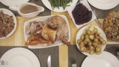 Overhead Thanksgiving table Stock Footage