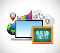 plan for success business online concept sign - stock illustration
