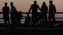 Skaters Shake Hands at Skate Park (Sihouette shot) Stock Footage