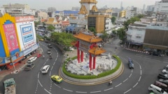 Chinatown gate with traffic on roudabout,Bangkok,Thailand Stock Footage