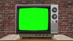 Vintage Television with Static Dissolving to Chroma Key Green Screen - stock footage
