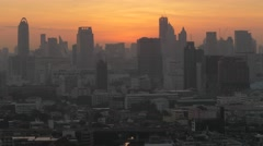Sunrise with skyline and traffic,Bangkok,Thailand Stock Footage