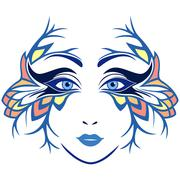 Abstract women face with stylized mask Stock Illustration