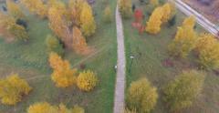 Cross Country Biking, Aerial shot Stock Footage