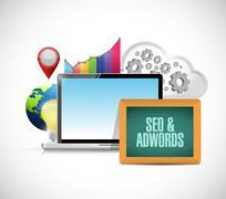 seo and adwords data computer - stock illustration