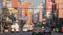 Yaowarat road in chinatown and advertising,Bangkok,Thailand - stock footage