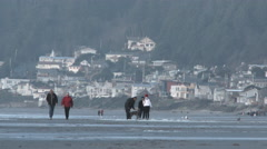 Beach Community People And Houses Stock Footage