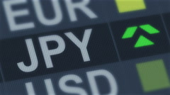 Japanese yen rising, falling. World exchange market. Currency rate fluctuating Stock Footage