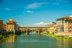Pone Vecchio over Arno river in Florence, Italy - stock photo