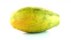 Papaya fruit on white background Stock Footage