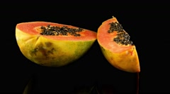 Fresh and tasty papaya Stock Footage