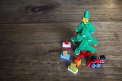 Toy Block Christmas Tree Still Life - stock photo