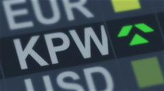 South Korean won rise, fall. World exchange market. Currency rate fluctuating Stock Footage