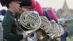 Military brass band at ceremony,Bangkok,King birthday,Thailand Stock Footage