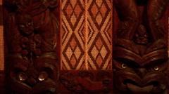 2 Panels Maori Carvings Stock Footage