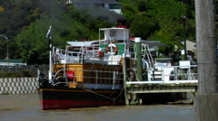 Paddle Steamer Boat at Dock Stock Footage