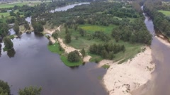 Downward Panning Shot of River from a drone. - stock footage