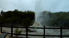 Woman Views Small Geyser Stock Footage