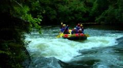 Upstream River Rafting Stock Footage