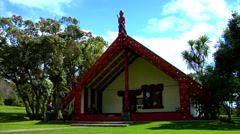 Maori Meeting House at Waitangi Treaty Grounds Stock Footage