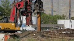 Drill drilling on construction site,Bangkok,Thailand Stock Footage