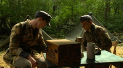 WW2 German Soldiers with Radio Stock Footage