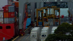 Straddle Carriers Operate on Docks Stock Footage