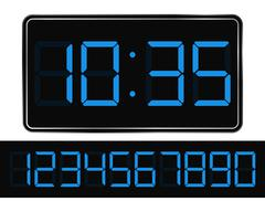 Vector Blue Digital Clock - stock illustration