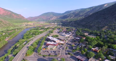 Aerial view of downtown Gleenwood Springs in the summer. Stock Footage