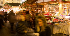Tourists in the Central Christmas Market In Budapest - Zoom Out Stock Footage