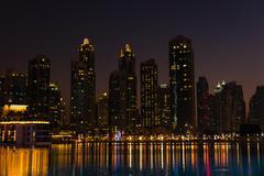 Night cityscape of Dubai city, United Arab Emirates Stock Photos
