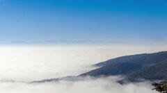 Beauty world Time lapse clip. Fantastic mountain landscape fog, mist clouds m Stock Footage