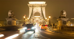 The front of the Szechenyi Chain Bridge in Budapest, Hungary. Traffic Time Lapse Stock Footage