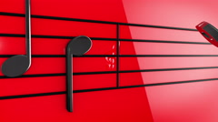 Animation of Music notes on staves Arkistovideo