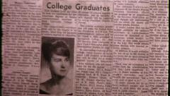 GRADUATION Newspaper Announcement Graduate 1960s Vintage Film Home Movie 9032 Stock Footage