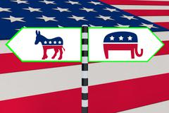 Democrat vs Republican concept - stock illustration