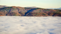 Perfect Time Lapse Fog Mountain, High Altitude Sunset colors Stock Footage