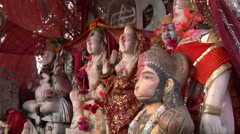 MCUS of statues on altar in Haridwar, India Stock Footage