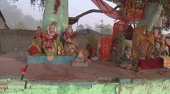 Pan MS of altar on embankment  in Haridwar, India Stock Footage