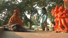 MS of a sikh near altar in Haridwar, India - stock footage